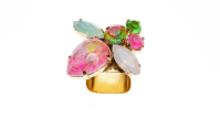 Rounded Square Ring - 23ct. Gold-Plated Brass, Swarovski Crystals (Handpainted). | Photography: Sabrina Dehoff